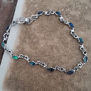 Silver plated abalone dolphin bracelet